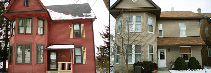 These two homes are similar in size, shape, and window configuration. Note that the house on the right has installed vinyl windows and changed the shape of the window in the gable as well as on the first floor.